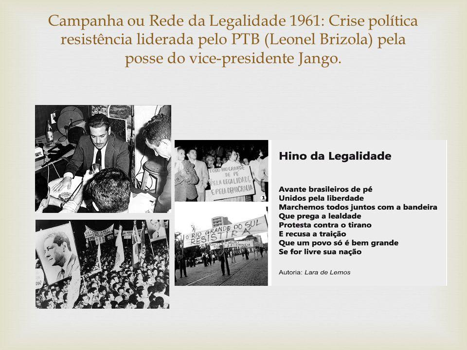 Campanha ou Rede da Legalidade 1961: Crise política resistência liderada pelo PTB (Leonel Brizola) pela posse do vice-presidente Jango.