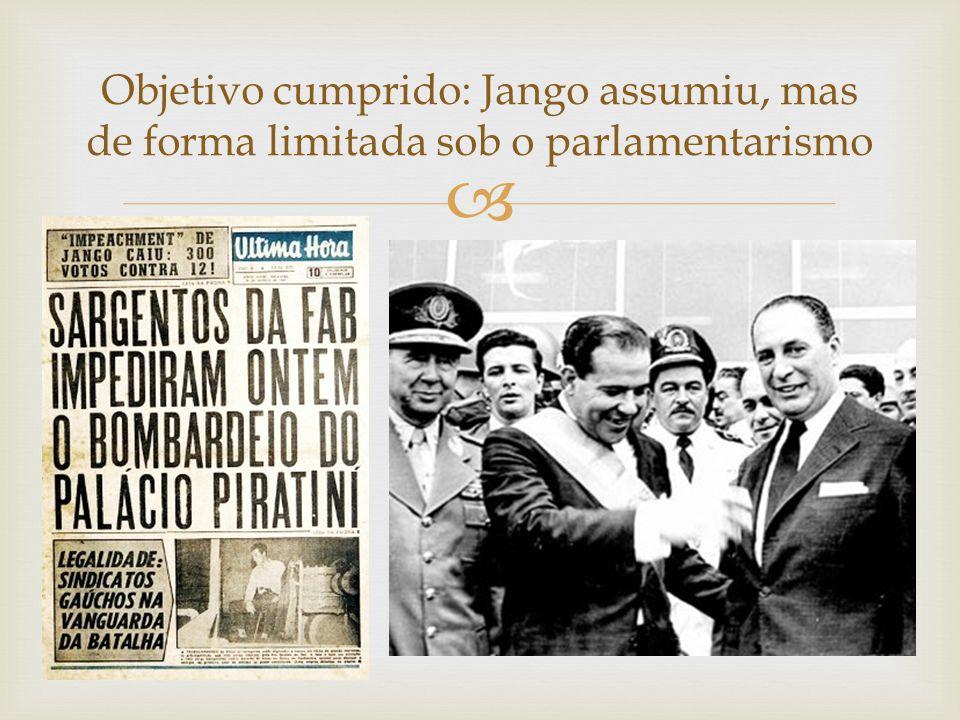  Objetivo cumprido: Jango assumiu, mas de forma limitada sob o parlamentarismo