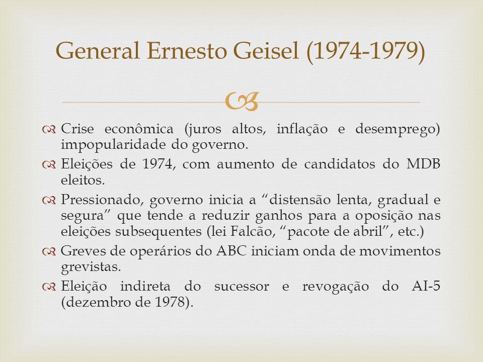   Crise econômica (juros altos, inflação e desemprego) impopularidade do governo.  Eleições de 1974, com aumento de candidatos do MDB eleitos.  Pr
