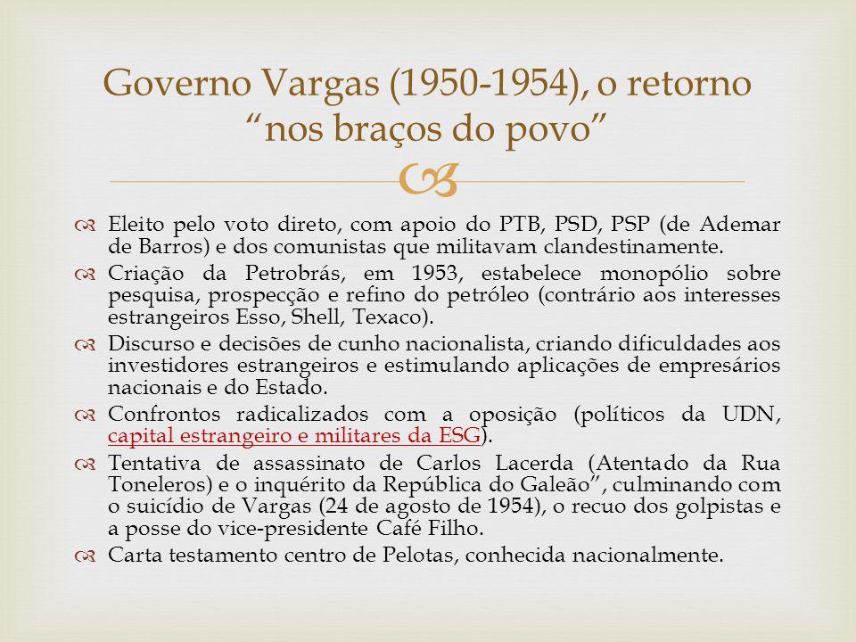   Eleito pelo voto direto, com apoio do PTB, PSD, PSP (de Ademar de Barros) e dos comunistas que militavam clandestinamente.  Criação da Petrobrás,