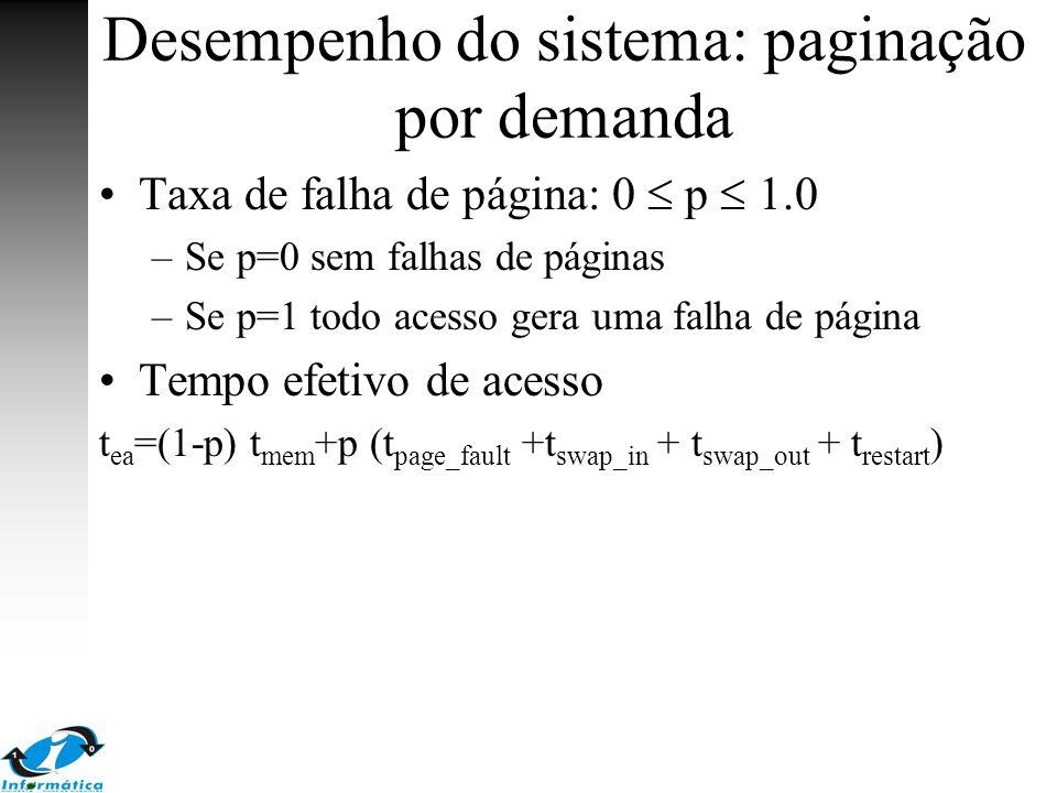 Desempenho do sistema: paginação por demanda Taxa de falha de página: 0  p  1.0 –Se p=0 sem falhas de páginas –Se p=1 todo acesso gera uma falha de