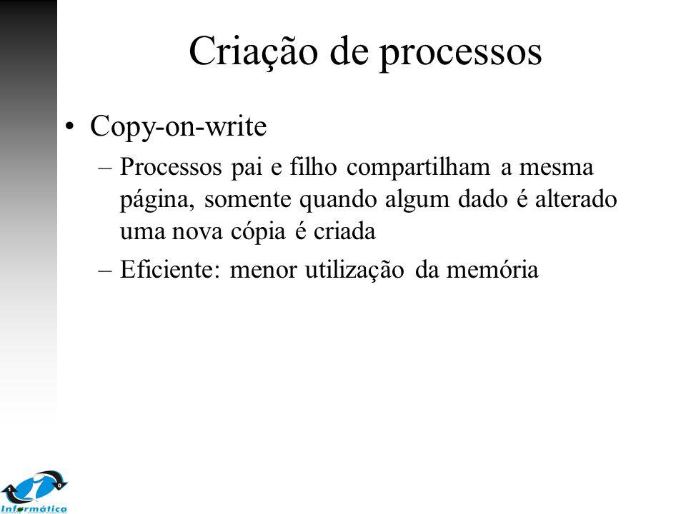 Criação de processos Copy-on-write –Processos pai e filho compartilham a mesma página, somente quando algum dado é alterado uma nova cópia é criada –E