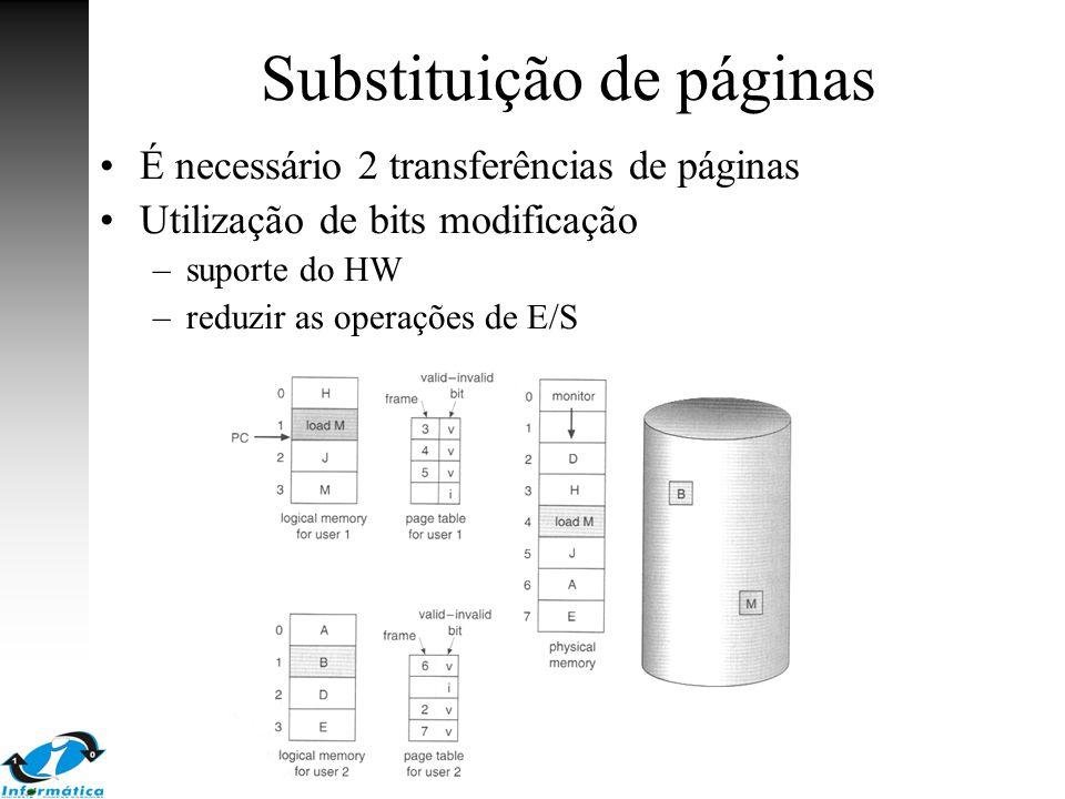 Substituição de páginas É necessário 2 transferências de páginas Utilização de bits modificação –suporte do HW –reduzir as operações de E/S