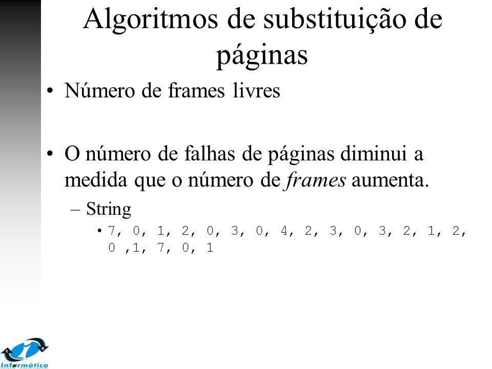 Algoritmos de substituição de páginas Número de frames livres O número de falhas de páginas diminui a medida que o número de frames aumenta. –String 7