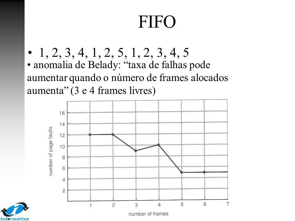 """FIFO 1, 2, 3, 4, 1, 2, 5, 1, 2, 3, 4, 5 anomalia de Belady: """"taxa de falhas pode aumentar quando o número de frames alocados aumenta"""" (3 e 4 frames li"""