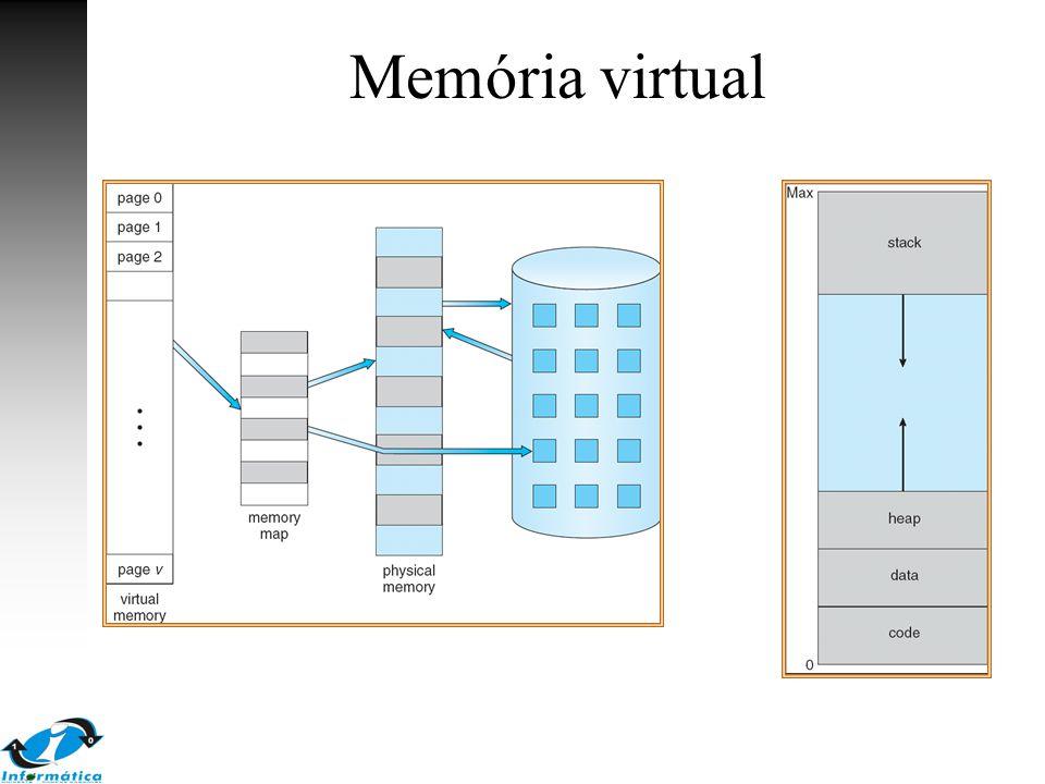 9.4 Alocação de frames A partir de um número m de frames livres, qual número de frames que serão alocados para os processos em execução Número mínimo de frames que devem ser alocados é determinado pelo conjunto de instruções –instruções que acessam somente um endereço por instrução: 2 páginas (1 instrução + 1 dado) –referências indiretas:load M -> 3 frames