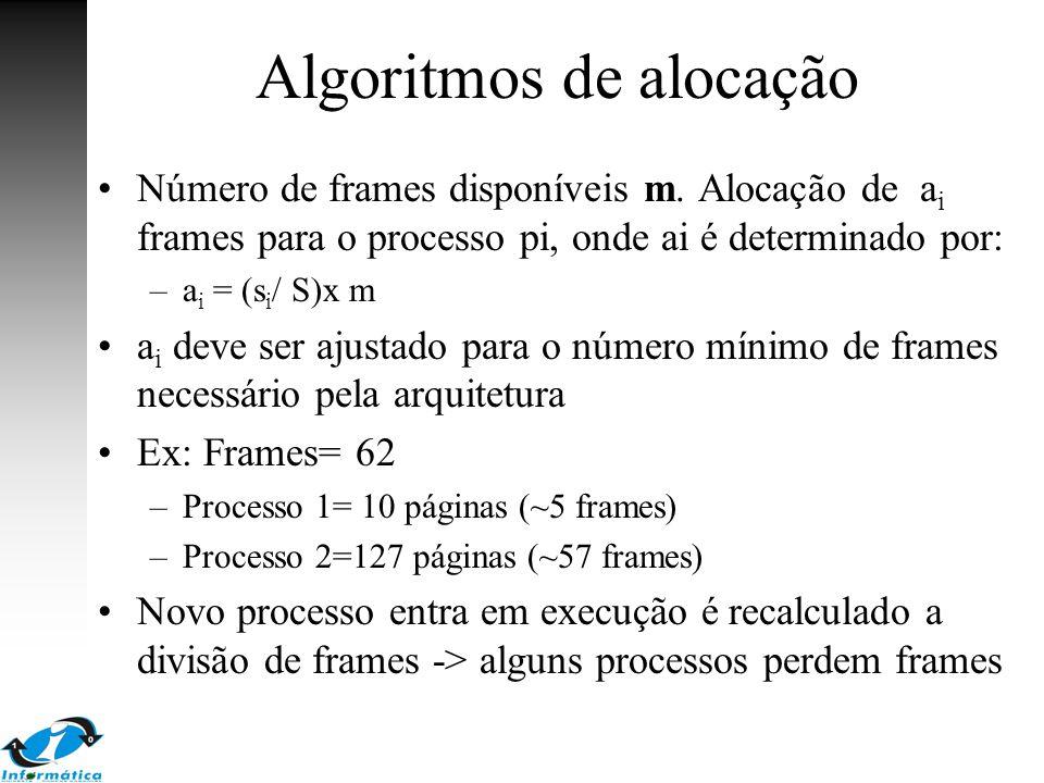 Algoritmos de alocação Número de frames disponíveis m. Alocação de a i frames para o processo pi, onde ai é determinado por: –a i = (s i / S)x m a i d