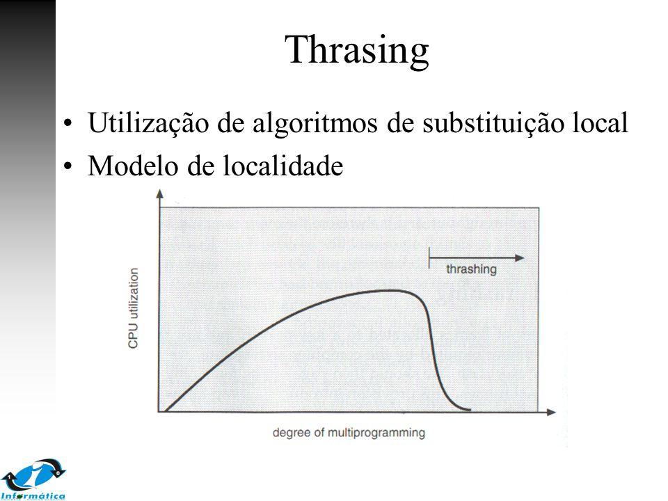 Thrasing Utilização de algoritmos de substituição local Modelo de localidade