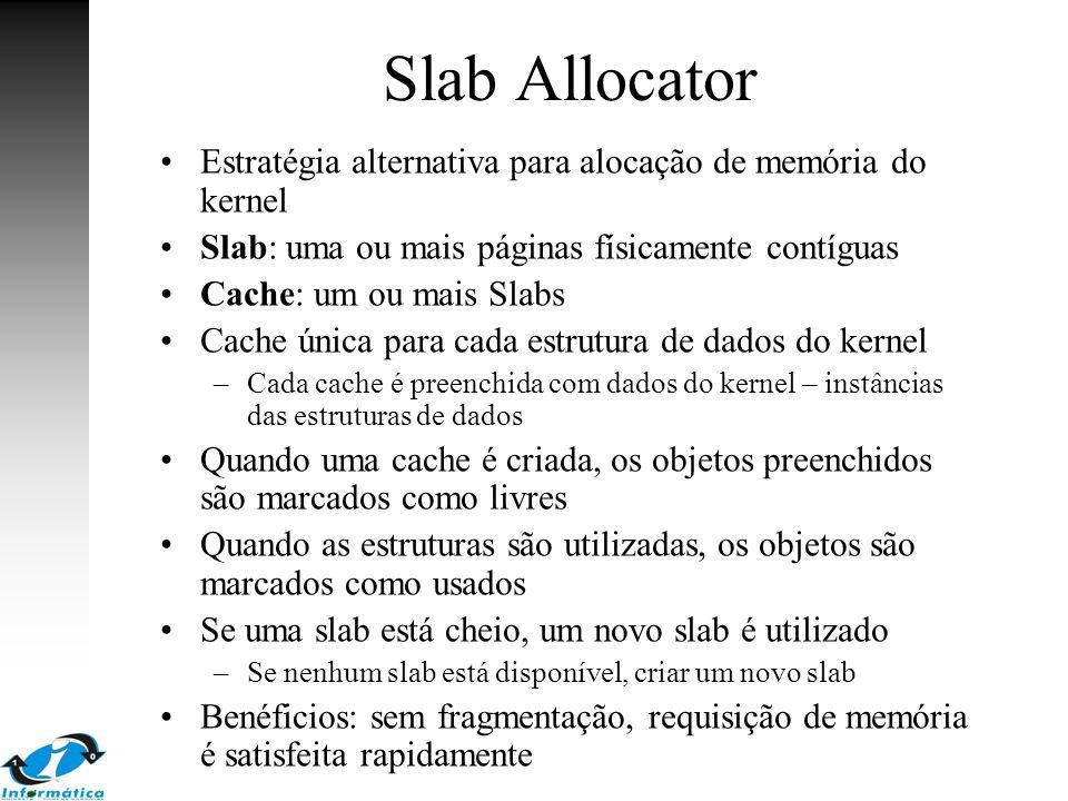 Slab Allocator Estratégia alternativa para alocação de memória do kernel Slab: uma ou mais páginas físicamente contíguas Cache: um ou mais Slabs Cache