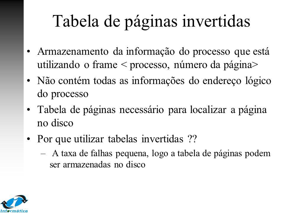 Tabela de páginas invertidas Armazenamento da informação do processo que está utilizando o frame Não contém todas as informações do endereço lógico do