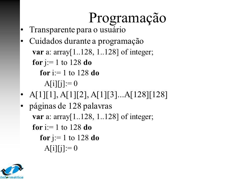 Programação Transparente para o usuário Cuidados durante a programação var a: array[1..128, 1..128] of integer; for j:= 1 to 128 do for i:= 1 to 128 d