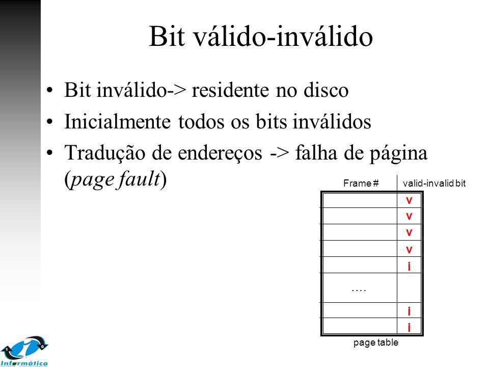 Bit válido-inválido Bit inválido-> residente no disco Inicialmente todos os bits inválidos Tradução de endereços -> falha de página (page fault) v v v