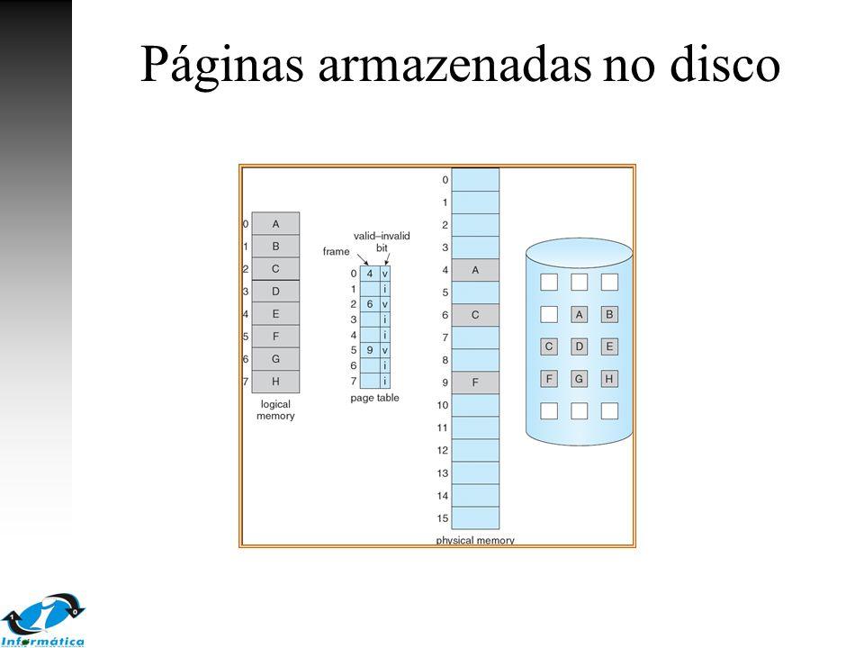 Falha de página (page fault) Na primeira referência à página –Trap para o sistema operacional Se a referência: –Inválida: erro –Carregar a página para a memória Obter um frame livre Carregar a página no frame Atualizar a tabela de página (bit válido) Reinicializar a instrução que gerou o trap