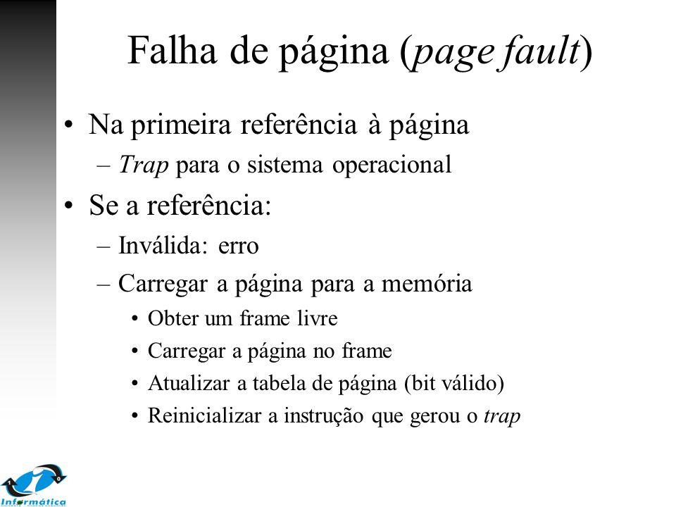 Falha de página (page fault) Na primeira referência à página –Trap para o sistema operacional Se a referência: –Inválida: erro –Carregar a página para