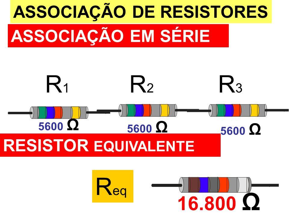 R1R1 R2R2 R3R3 ASSOCIAÇÃO DE RESISTORES ASSOCIAÇÃO EM SÉRIE 16.800 Ω RESISTOR EQUIVALENTE 5600 Ω R eq