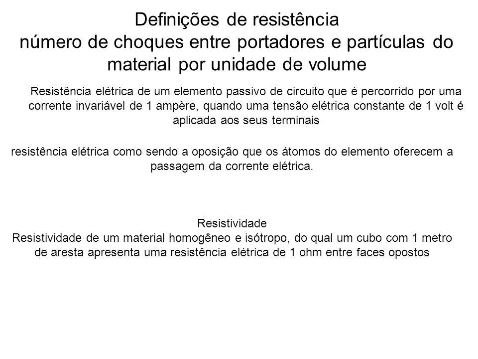 Definições de resistência número de choques entre portadores e partículas do material por unidade de volume Resistência elétrica de um elemento passiv