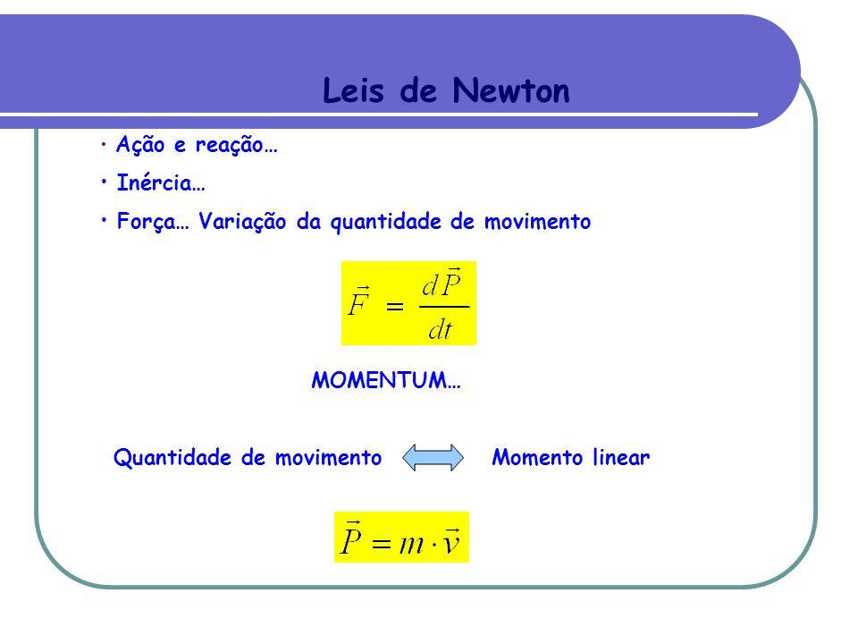 Leis de Newton Ação e reação… Inércia… Força… Variação da quantidade de movimento MOMENTUM… Quantidade de movimento Momento linear
