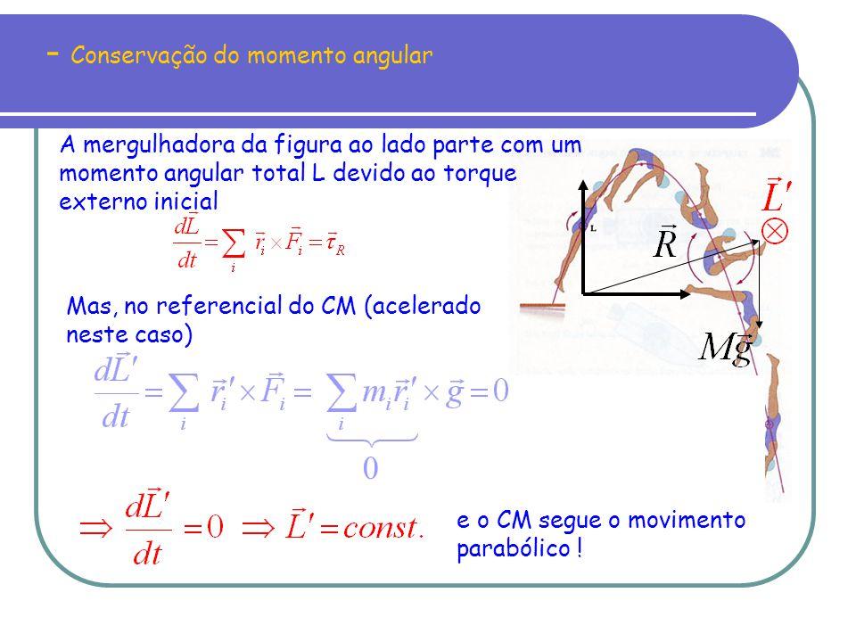 - Conservação do momento angular No sistema homem - halteres só há forças internas e, portanto,