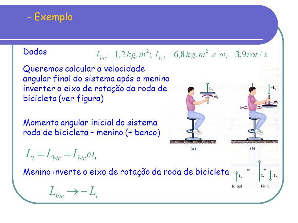 Momento angular inicial do sistema roda de bicicleta – menino (+ banco) Menino inverte o eixo de rotação da roda de bicicleta - Exemplo Dados Queremos