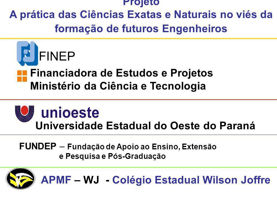 Projeto A prática das Ciências Exatas e Naturais no viés da formação de futuros Engenheiros FINEP Financiadora de Estudos e Projetos Ministério da Ciê