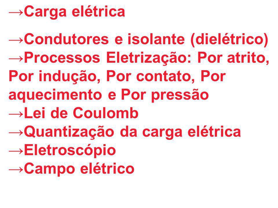 →Carga elétrica →Condutores e isolante (dielétrico) →Processos Eletrização: Por atrito, Por indução, Por contato, Por aquecimento e Por pressão →Lei d
