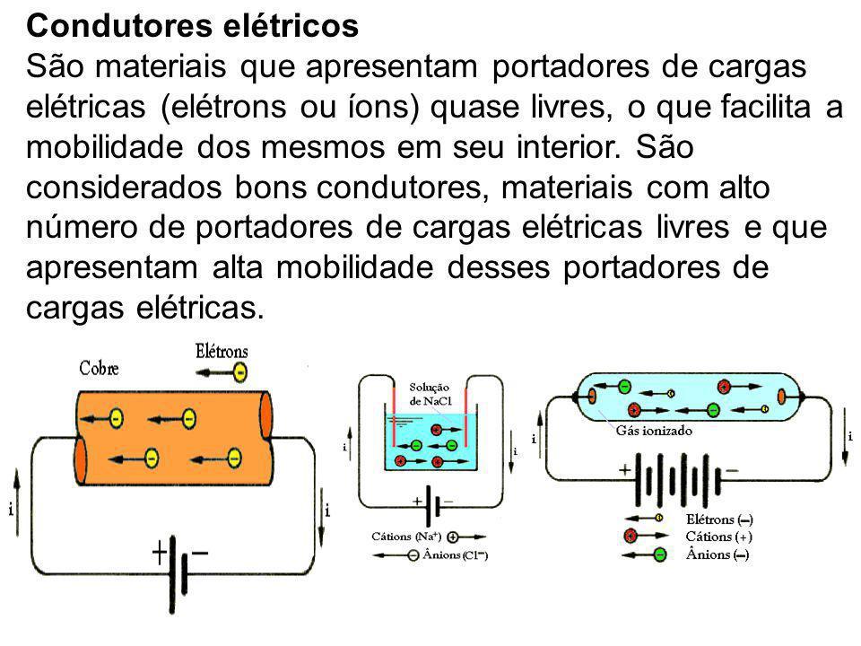 Condutores elétricos São materiais que apresentam portadores de cargas elétricas (elétrons ou íons) quase livres, o que facilita a mobilidade dos mesm