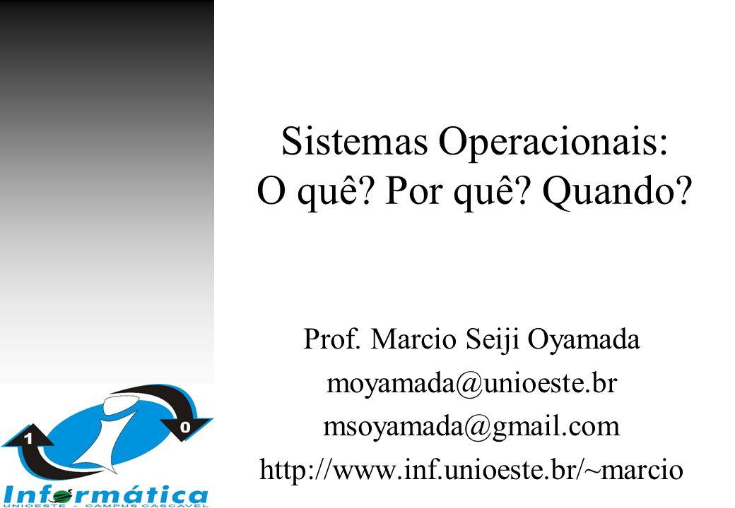 Sistemas Operacionais: O quê? Por quê? Quando? Prof. Marcio Seiji Oyamada moyamada@unioeste.br msoyamada@gmail.com http://www.inf.unioeste.br/~marcio