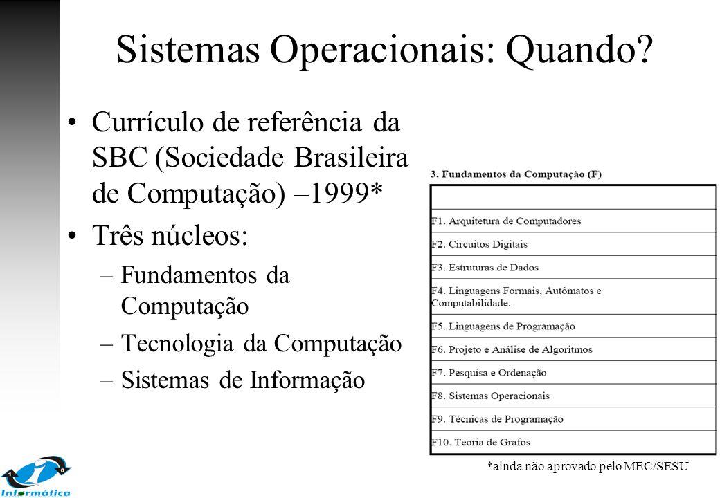 Sistemas Operacionais: Quando? Currículo de referência da SBC (Sociedade Brasileira de Computação) –1999* Três núcleos: –Fundamentos da Computação –Te