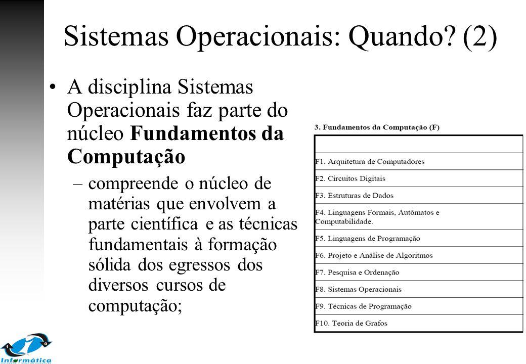 Sistemas Operacionais: Quando? (2) A disciplina Sistemas Operacionais faz parte do núcleo Fundamentos da Computação –compreende o núcleo de matérias q