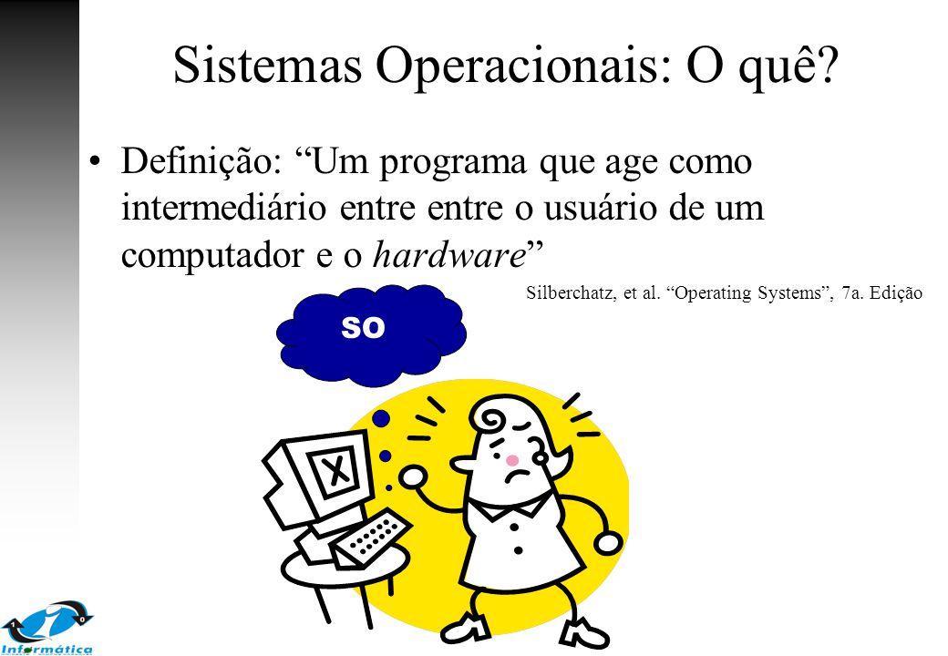 """Sistemas Operacionais: O quê? Definição: """"Um programa que age como intermediário entre entre o usuário de um computador e o hardware"""" Silberchatz, et"""