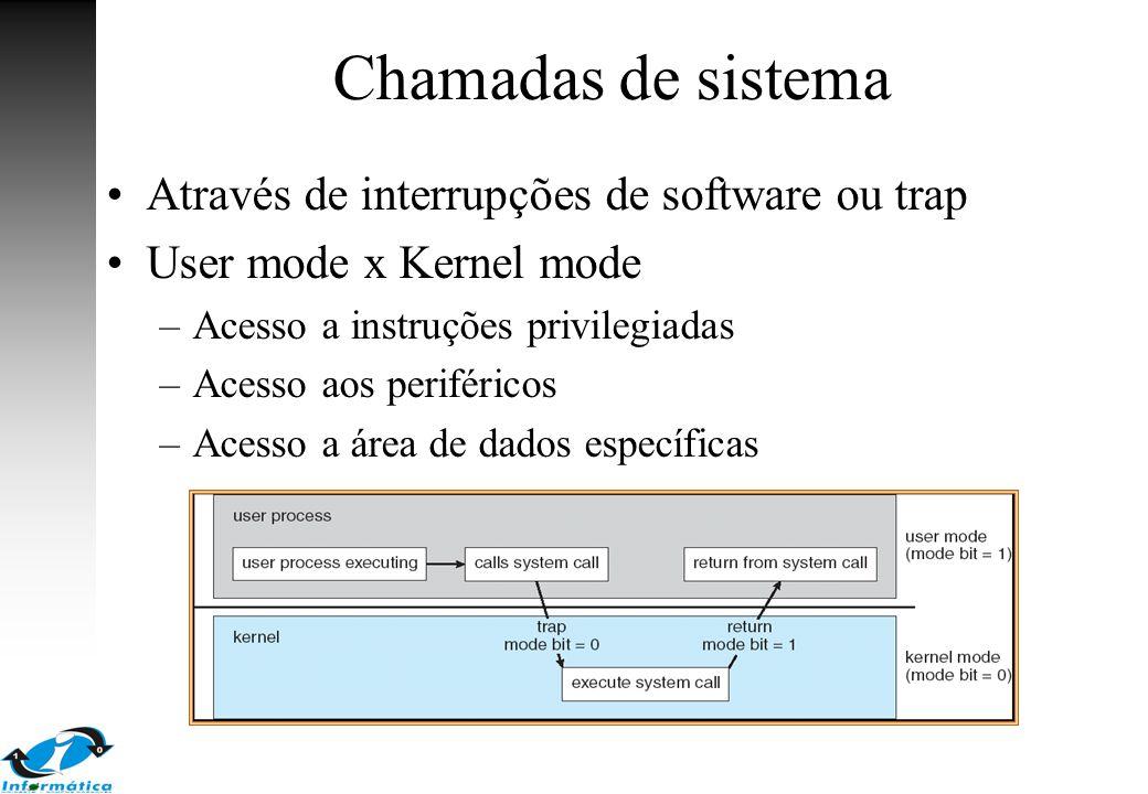 Chamadas de sistema Através de interrupções de software ou trap User mode x Kernel mode –Acesso a instruções privilegiadas –Acesso aos periféricos –Ac