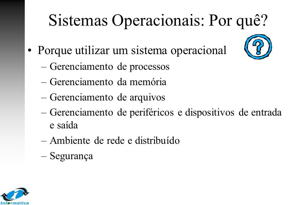 Sistemas Operacionais: Por quê? Porque utilizar um sistema operacional –Gerenciamento de processos –Gerenciamento da memória –Gerenciamento de arquivo