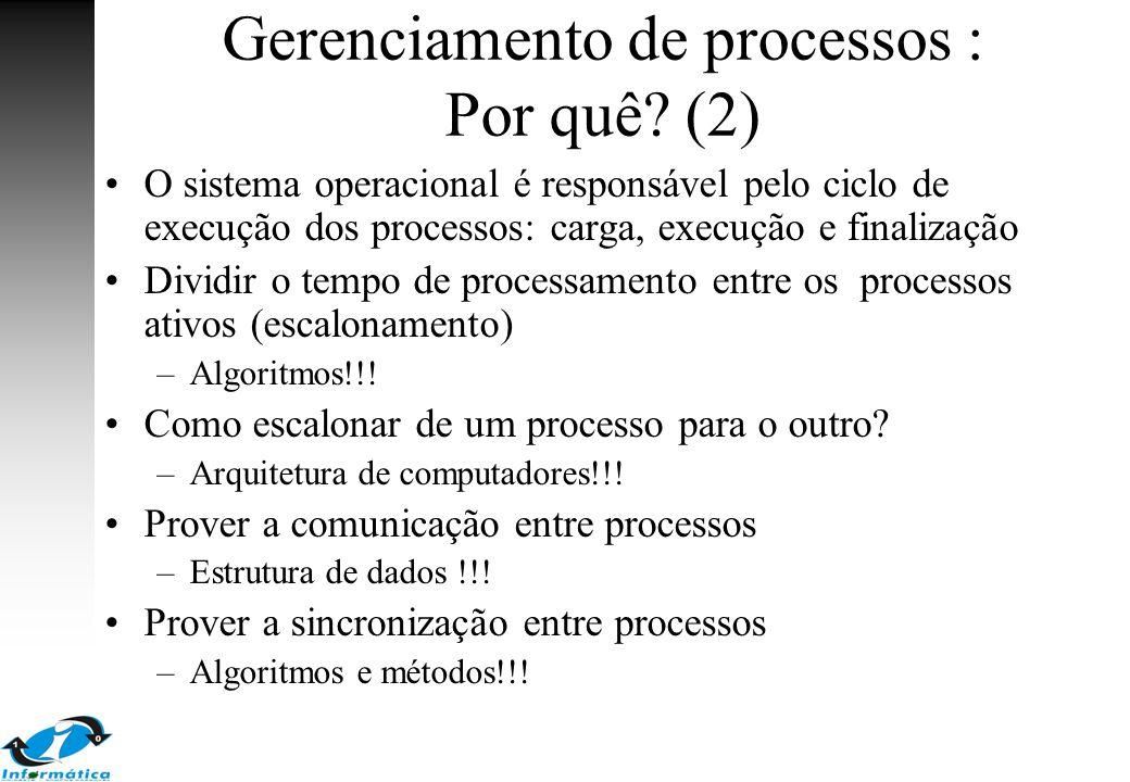 Gerenciamento de processos : Por quê? (2) O sistema operacional é responsável pelo ciclo de execução dos processos: carga, execução e finalização Divi