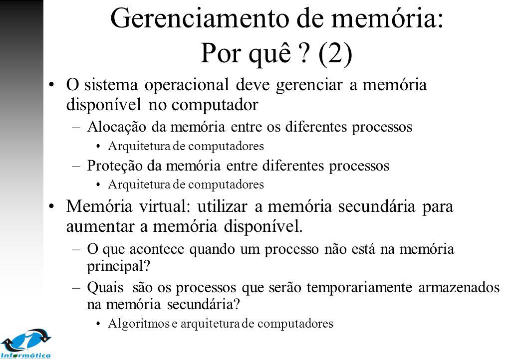 Gerenciamento de memória: Por quê ? (2) O sistema operacional deve gerenciar a memória disponível no computador –Alocação da memória entre os diferent