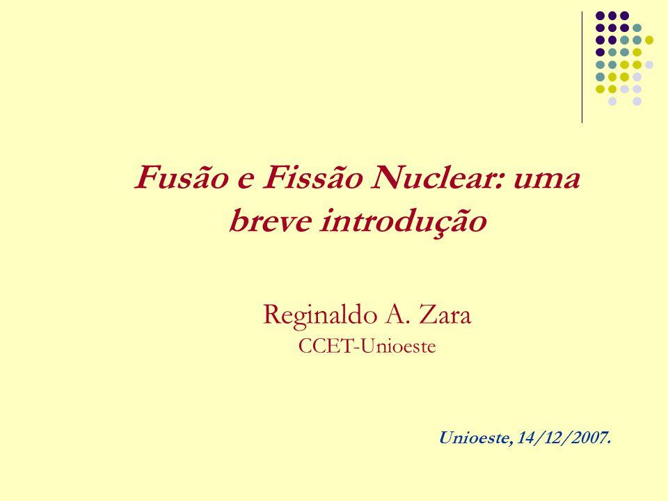 Fusão e Fissão Nuclear: uma breve introdução Reginaldo A. Zara CCET-Unioeste Unioeste, 14/12/2007.