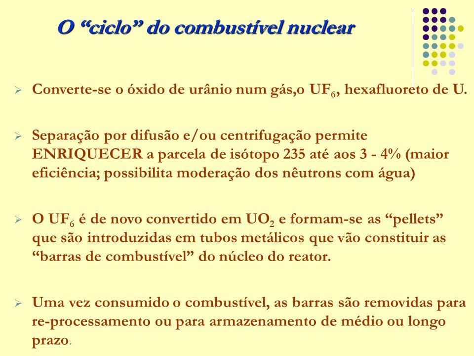  Converte-se o óxido de urânio num gás,o UF 6, hexafluoreto de U.  Separação por difusão e/ou centrifugação permite ENRIQUECER a parcela de isótopo