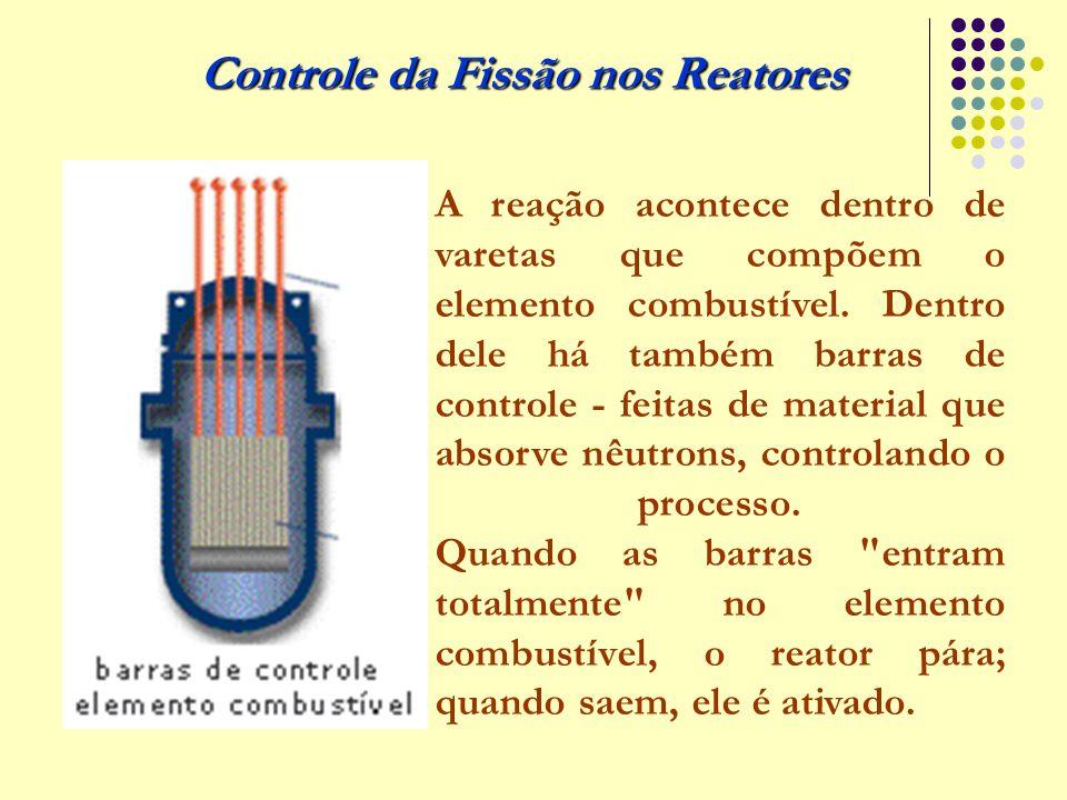 Controle da Fissão nos Reatores A reação acontece dentro de varetas que compõem o elemento combustível. Dentro dele há também barras de controle - fei