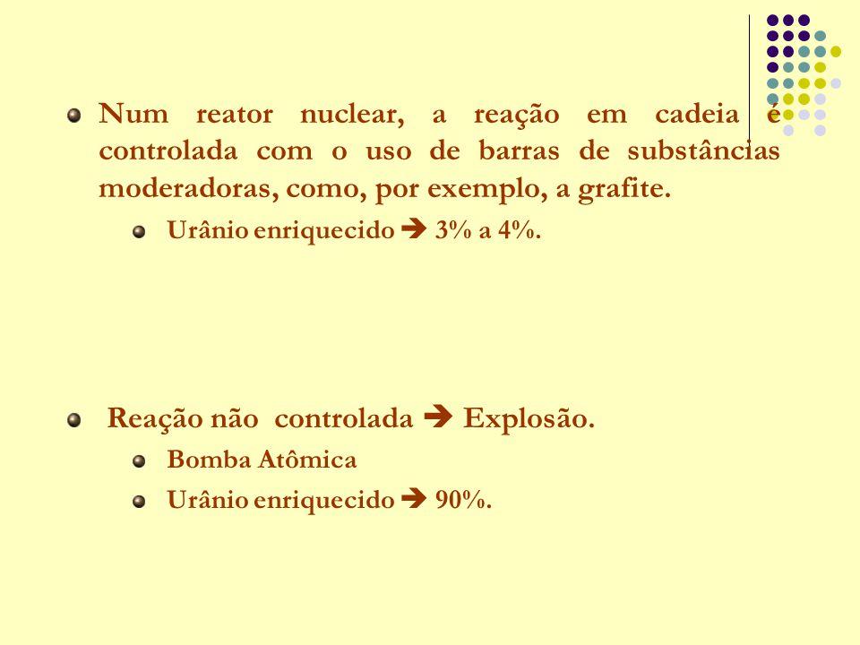 Num reator nuclear, a reação em cadeia é controlada com o uso de barras de substâncias moderadoras, como, por exemplo, a grafite. Urânio enriquecido 