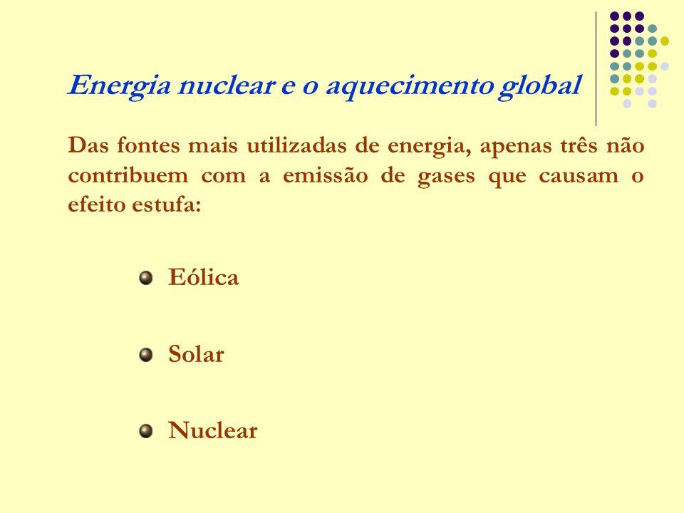 Energia nuclear e o aquecimento global Das fontes mais utilizadas de energia, apenas três não contribuem com a emissão de gases que causam o efeito es