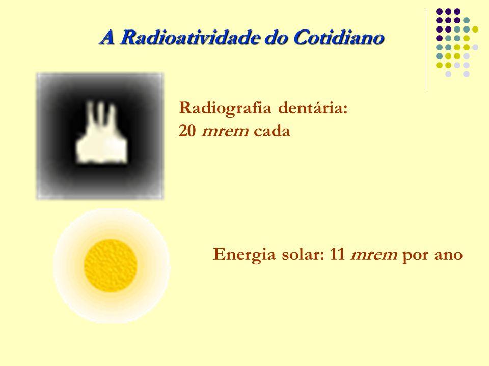 A Radioatividade do Cotidiano Radiografia dentária: 20 mrem cada Energia solar: 11 mrem por ano