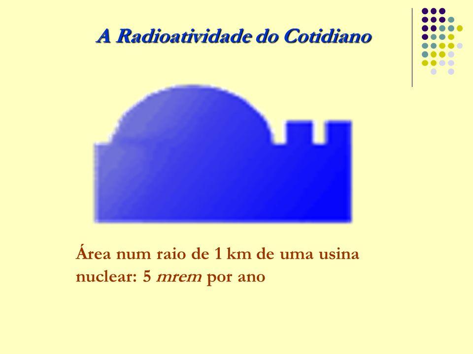 A Radioatividade do Cotidiano Área num raio de 1 km de uma usina nuclear: 5 mrem por ano