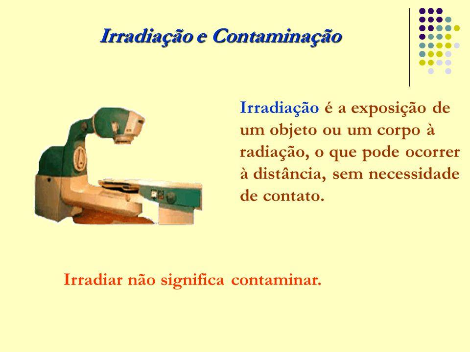 Irradiação e Contaminação Irradiação é a exposição de um objeto ou um corpo à radiação, o que pode ocorrer à distância, sem necessidade de contato. Ir