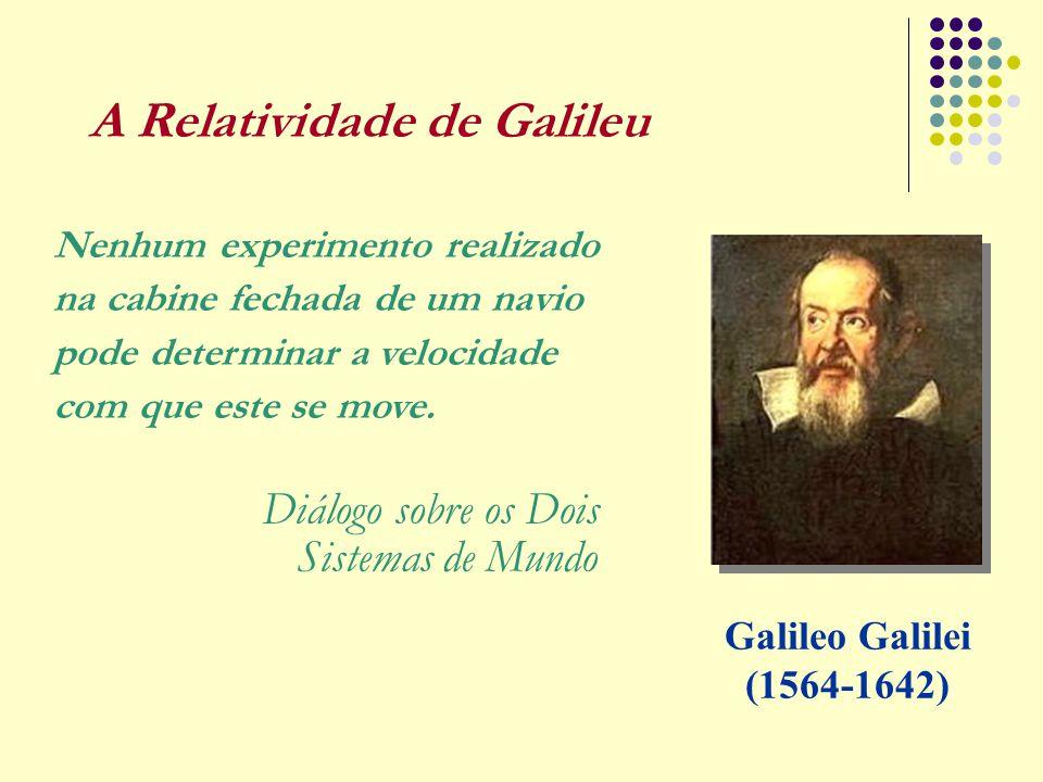 A Relatividade de Galileu Galileo Galilei (1564-1642) Nenhum experimento realizado na cabine fechada de um navio pode determinar a velocidade com que