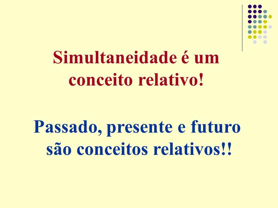 Simultaneidade é um conceito relativo! Passado, presente e futuro são conceitos relativos!!