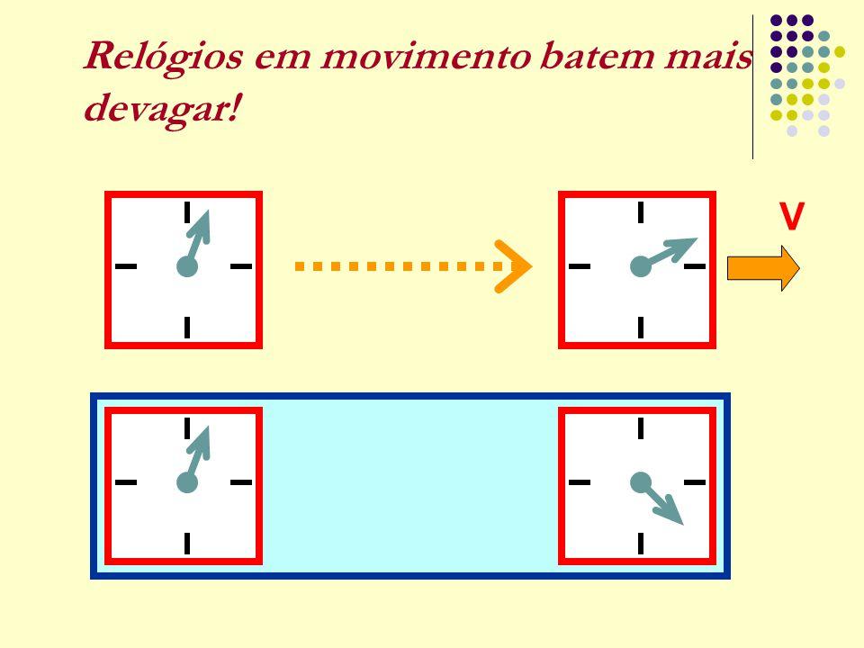 Relógios em movimento batem mais devagar! V