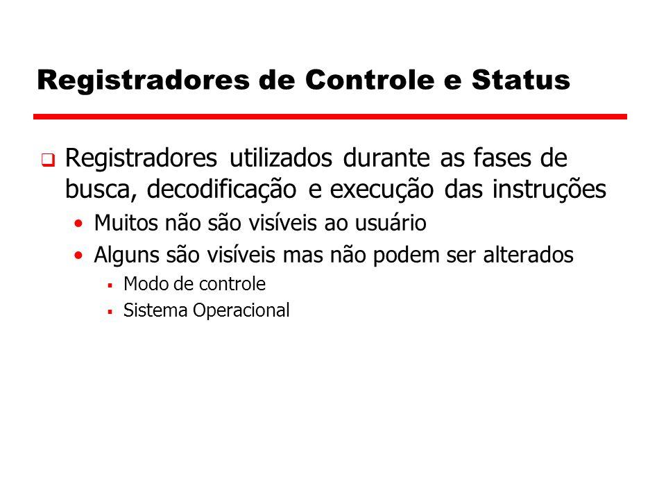 Registradores de Controle e Status  Registradores utilizados durante as fases de busca, decodificação e execução das instruções Muitos não são visíve