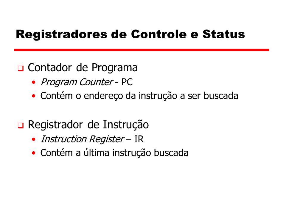 Registradores de Controle e Status  Contador de Programa Program Counter - PC Contém o endereço da instrução a ser buscada  Registrador de Instrução