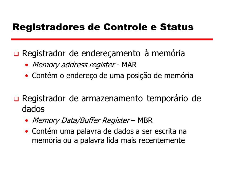 Registradores de Controle e Status  Registrador de endereçamento à memória Memory address register - MAR Contém o endereço de uma posição de memória