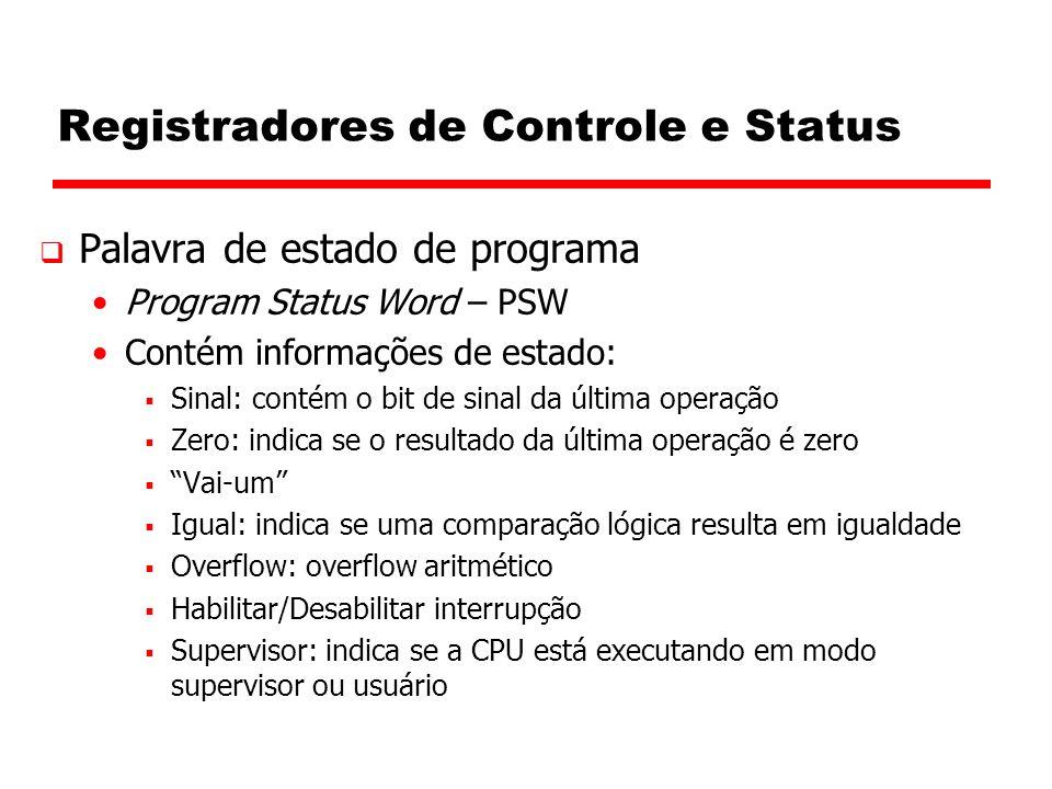 Registradores de Controle e Status  Palavra de estado de programa Program Status Word – PSW Contém informações de estado:  Sinal: contém o bit de si
