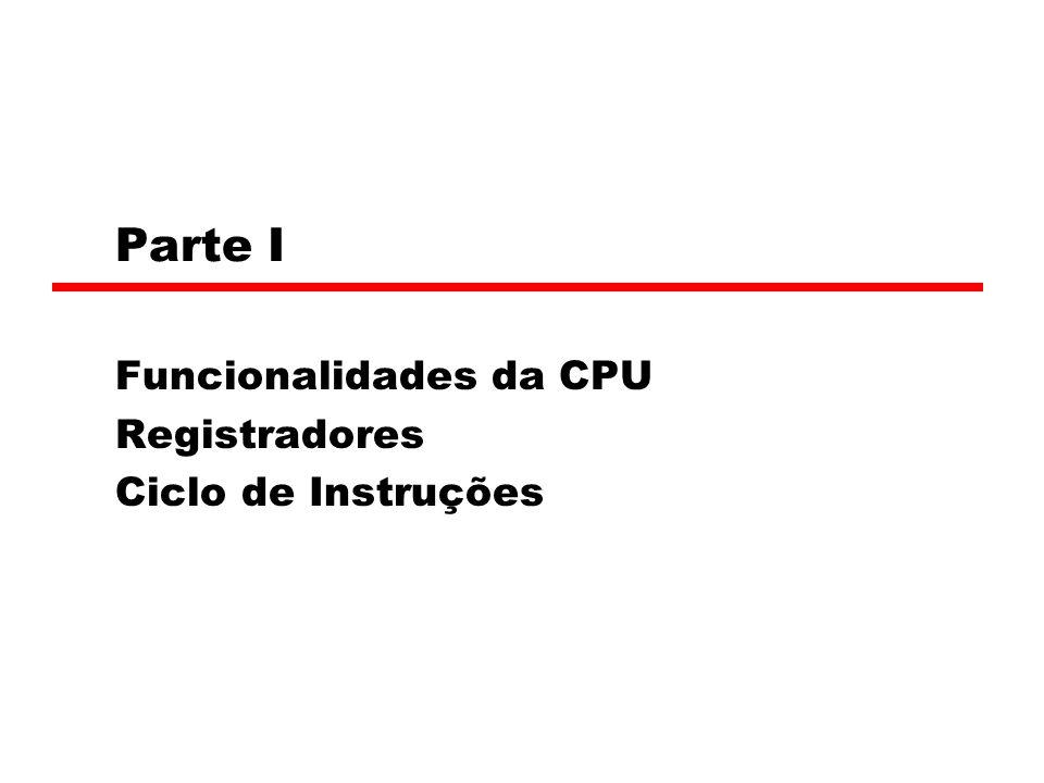 Parte I Funcionalidades da CPU Registradores Ciclo de Instruções